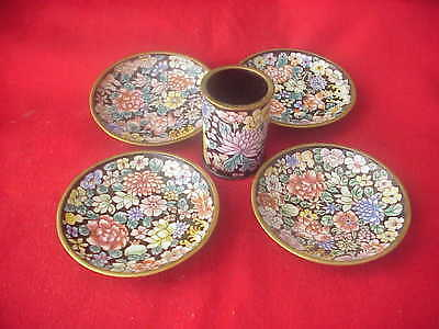 4 Little Enameled Copper Trays And 1 Cup Beautiful Flowers Design!!!