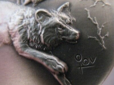 1- Oz.925 Longines Sterling Silver  Coin Gray Wolf Aka Lobo, Timber Wolf + Gold