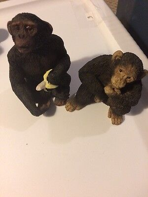 "Pair Small Resin Chimpanzees 3-1/2"" & 4-1/4"""