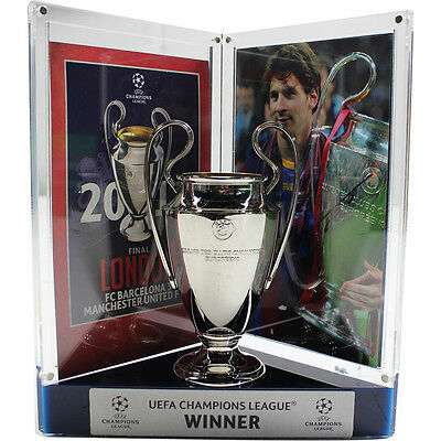 LIONEL MESSI Signed Barcelona UEFA Replica Trophy Display ICONS
