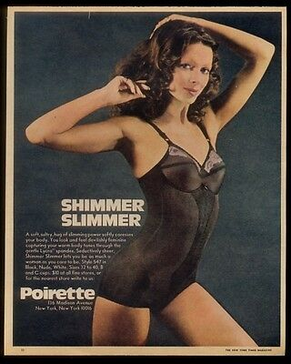 1972 Poirette lingerie black Lycra Shimmer Slimmer corselette woman photo ad