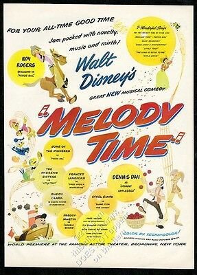 1948 Walt Disney Melody Time Pecos Bill Donald Duck art vintage print ad