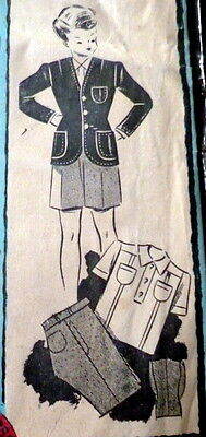 RARE VTG 1940s BOYS SUIT & SHIRT FRENCH Sewing Pattern 5-7 YEARS