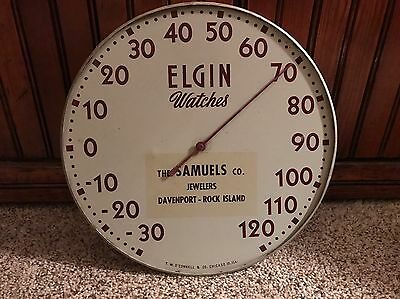 Vintage Elgin Watches Metal Dial Thermometer Sign Works