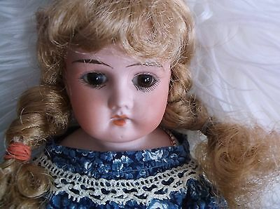 VICTORIAN ANTIQUE BISQUE DOLL LEATHER BODY,  mark Germany Mabel 12/0