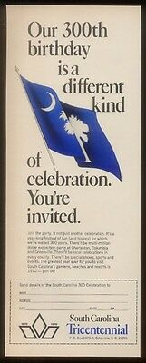 1969 South Carolina Tricentennial blue flag art ad