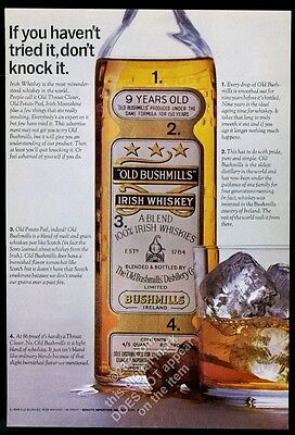 1964 Old Bushmills Irish whiskey bottle cork rocks glass photo vintage print ad