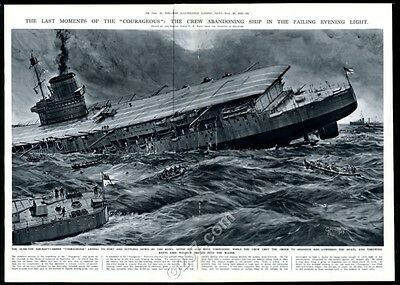 1939 HMS Courageous Royal Navy aircraft carrier sinking vintage print article