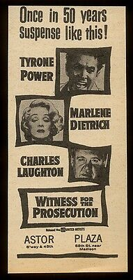 1958 Marlene Dietrich Charles Laughton photo Witness for the Prosecution ad