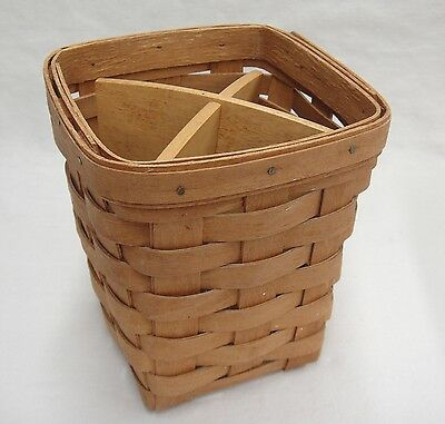 "Longaberger Utensil Basket with Wooden Divider 6"" Tall 1992"