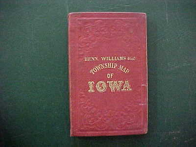 "1855 State Of Iowa Large Folding Pocket Map In Red Covers 35"" X 21 1/2"". Vg+"