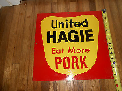 Old United Hagie Seed Corn (Eat More Pork) Farm Feed Sign - Des Moines Iowa Nos