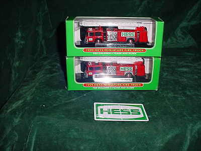 Spring Sale Easter Basket Two 1999 Hess Toy Trucks Red Mini Fire Trucks Mib Toys