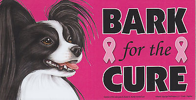 Papillon Black/White BARK for the CURE Pink Ribbons Breast Cancer car MAGNET 4X8