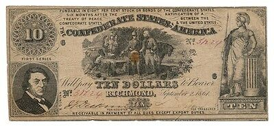 CONFEDERATE STATES banknote 10 DOLLARS 1861. T-30