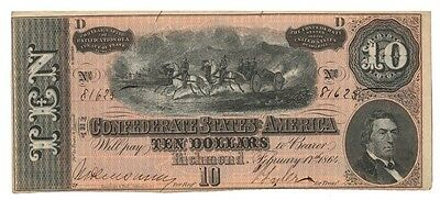 CONFEDERATE STATES banknote 10 DOLLARS 1864. T-68 XF