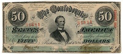 CONFEDERATE STATES banknote 50 DOLLARS 1863. T-57 VF