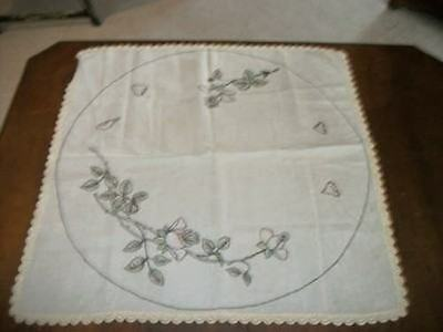 Art Deco Era Shabby Chic Hand Tinted Embroidered Linen Tablecloth Crochet Lace