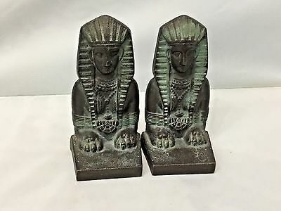 "Vintage Cast Iron Egyptian Sphinx Decorated Metal Bookends 5 1/4"" Tall #571"
