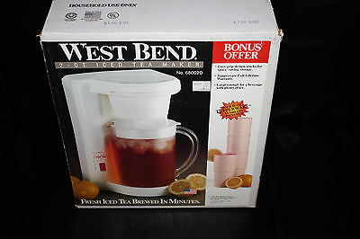 Vintage West Bend 2 QT Iced Tea Maker 60082D NEW Open Box W/TUPPERWARE TUMBLERS