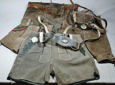 4 pair authentic German Lederhosen adult and child, two pair with suspenders