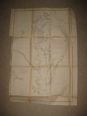 Huge Antique 1855 Virginia Maryland Delaware Chesapeake Bay Maritime Map Chart