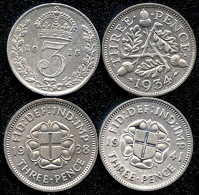 Great Britain 1915 1934 1938 & 1941 3 Pence Silver Coins