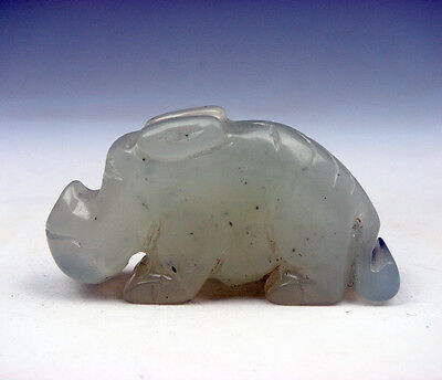 Vintage Nephrite Jade Hand Carved Sculpture Monster Wild Boar Piggy #03091601