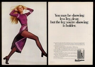 1970 Burlington pantyhose purple dress woman photo print ad