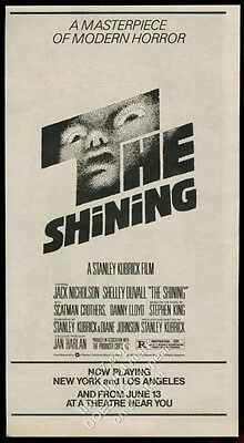 1980 The Shining Stanley Kubrick movie release vintage print ad