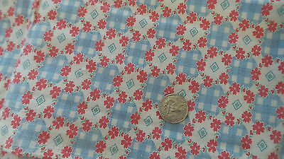Vintage Feedsack Feed Sack Fabric BLUE CHECK CIRCLE, RED FLORAL BORDER