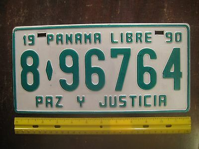 License Plate, Panama, 1990, 8 - 9674, PAZ Y JUSTICIA, with Window Sticker