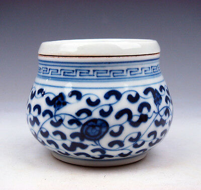 Blue&White QingHua Porcelain Floral Painted Cricket Pot Jar #02191701