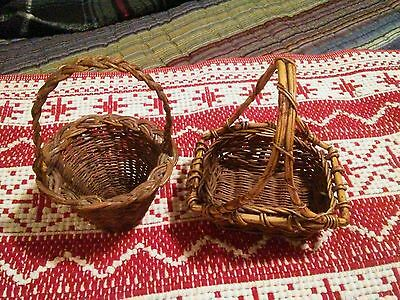 vintage antique small hand weaved baskets lot of 2