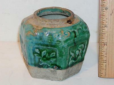 "Antique Chinese Tea Caddy / Container, Pottery, Green Glazed, No Top, 3.5""H"