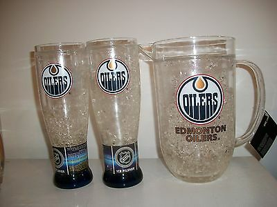Brand New- Edmonton Oilers Ice Pilsner Glasses And Pitcher