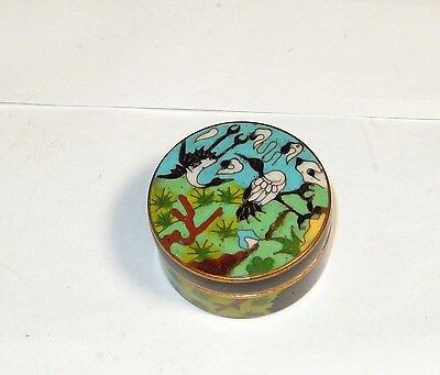Small Cloisonne Enamel Floral Pill Canister Jar Box