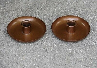 PAIR AMERICAN ARTS & CRAFTS HAMMERED COPPER CANDLEHOLDERS ~ EARLY 20th c.