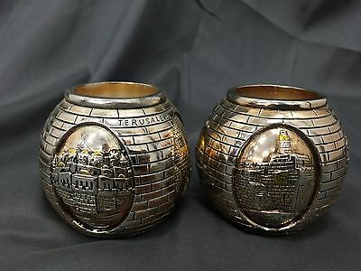 Pair 925 SC Silver Plated Jerusalem Ball City Candle Holders