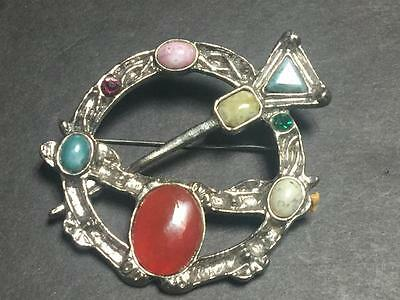 Large Vintage Celtic Silvertone and Gemstone / Glass Pin - 65 mm across