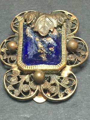 Antique Victorian Era Dress Clip with Blue Stone with Gold Inclusions