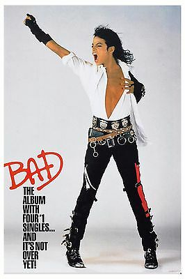 Michael Jackson * BAD * Promotional Poster 1987  12x18