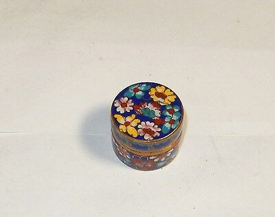 Small Blue Cloisonne Enamel Floral Pill Canister Jar Box