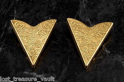 Vintage Collar Tips Western Arabesque Motif Pair Steel Metal Screw Made in USA