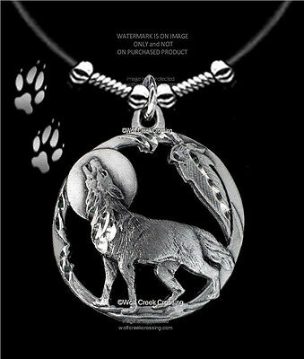 "Moon Shadow Wolf Necklace Male Or Female - Wolves Eagle Feather  Free Ship 24""l"