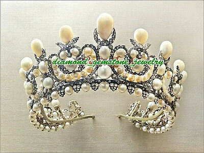 392.40cts ROSE CUT DIAMOND PEARL ANTIQUE WEDDING SILVER HAIR JEWELRY CROWN-TIARA