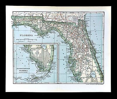 1902 Dodd Mead Map - Florida - Miami Key West Tampa St. Augustine Tallahassee