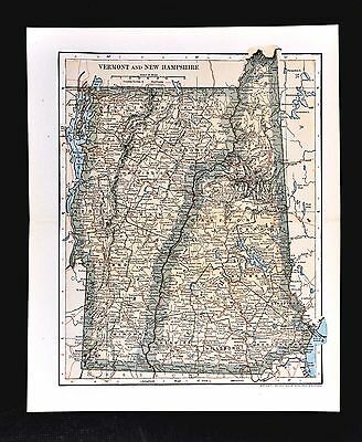 1903 Dodd Mead Map - Vermont & New Hampshire - Concord Montpelier Mt. Washington