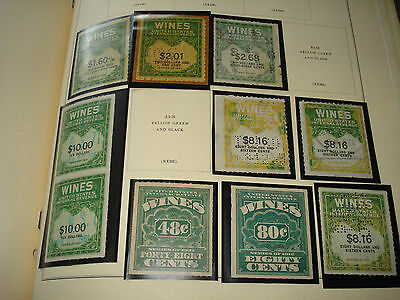 US Lot 10 Wine REVENUE STAMPS 1933 & 1941 Series some perfins duplications NICE!
