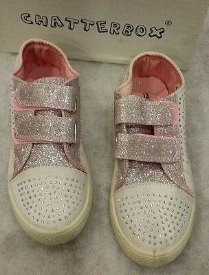 pale pink girls glitter trainers new in box size 13